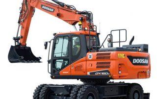 Doosan DX160W-5 pyöräalustainen kaivinkone tarjoaa luotettavaa tehokkuutta!